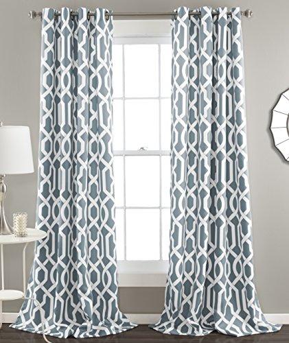 Lush Decor Edward Room Darkening Window Curtain Panel, 84 x 52-Inches,Blue, (Set of 2)