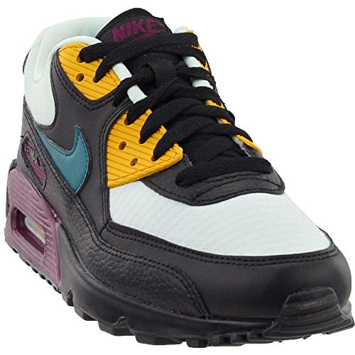 NIKE Women's Air Max 90 Light Silver/Geode Teal/Black Running Shoe 7.5 Women US (Nike Dunk Sky High Black Wedge Sneakers)