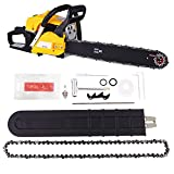 Luckdeal Gas Powered Chain Saw 2 Stroke with 20″ Powerful Petrol Chainsaw Bar for Wood Cutting Work, Easy Start and Assembly (58cc-red)