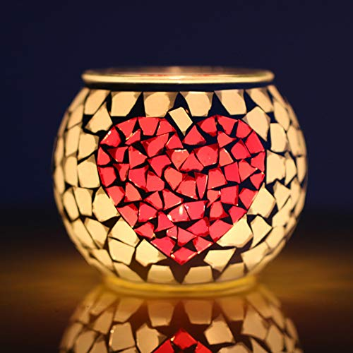 (Agyvvt Glass Mosaic Candle Holder Globe Romance Candlestick for Home Office Wedding Candlelight Dinner Decoration Gift (Heart))