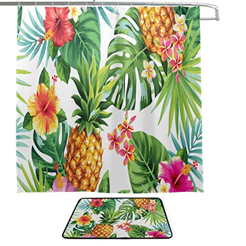 XINGCHENSS Exotic Tropical Fruit Sketch Summer Pineapple Single-Sided Printing Shower Curtain and Non-Slip Bath Mat Rug Floor Mat Combination Set with 12 Hooks for Bathroom Decor and Daily Use
