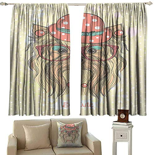 DUCKIL Room Darkening Wide Curtains Yorkie Be Cute Portrait of an Adorable Dog with Earrings Necklace Glasses Hat Makeup Blackout Draperies for Bedroom Window W63 xL72 Light Brown Coral