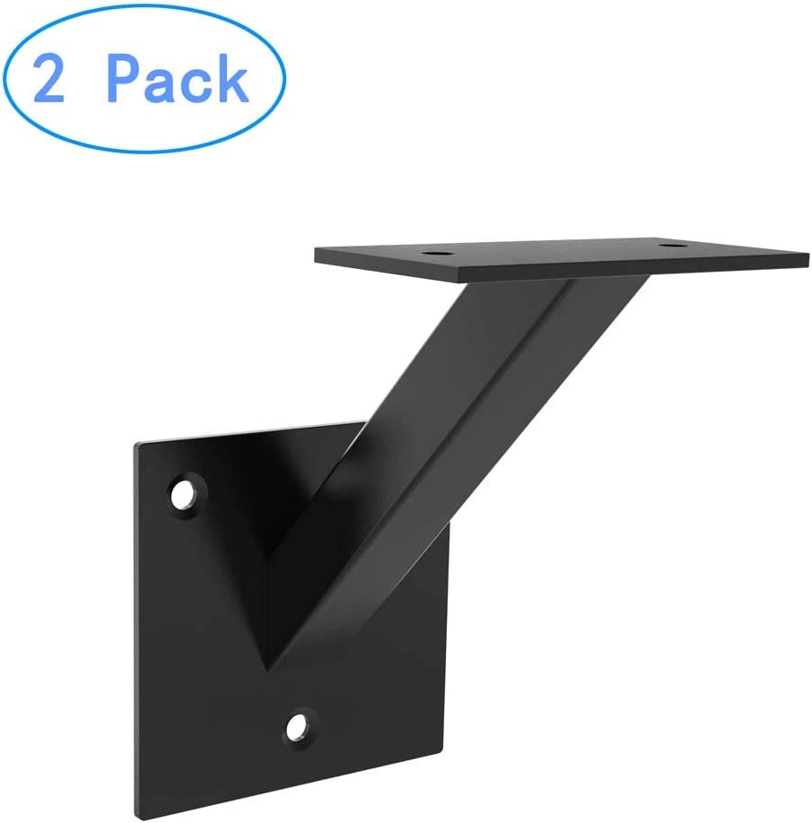 AMSOOM Handrail Bracket Heavy Duty Steel Stair Parts for Wall Mounted Staircase Railings Accessories Stairway Support Hardware for Wood or Metal Flat Square Railings. Black, 1 Pack