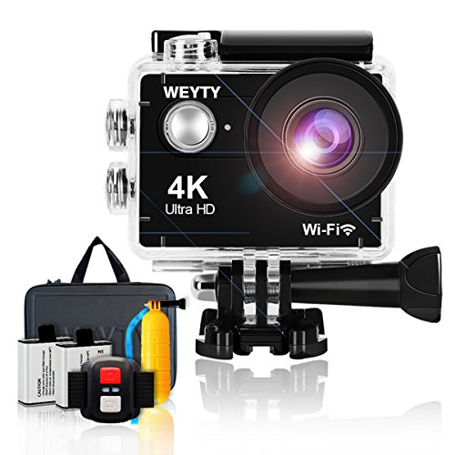 Action Camera WeyTy X9S 4K Ultra HD Sports Camera 12MP Wifi Waterproof Camcorder 170 Degrees Wide-Angle Len Underwater Camera with Remote Control, Travel Bag and Mounting Accessories Kit