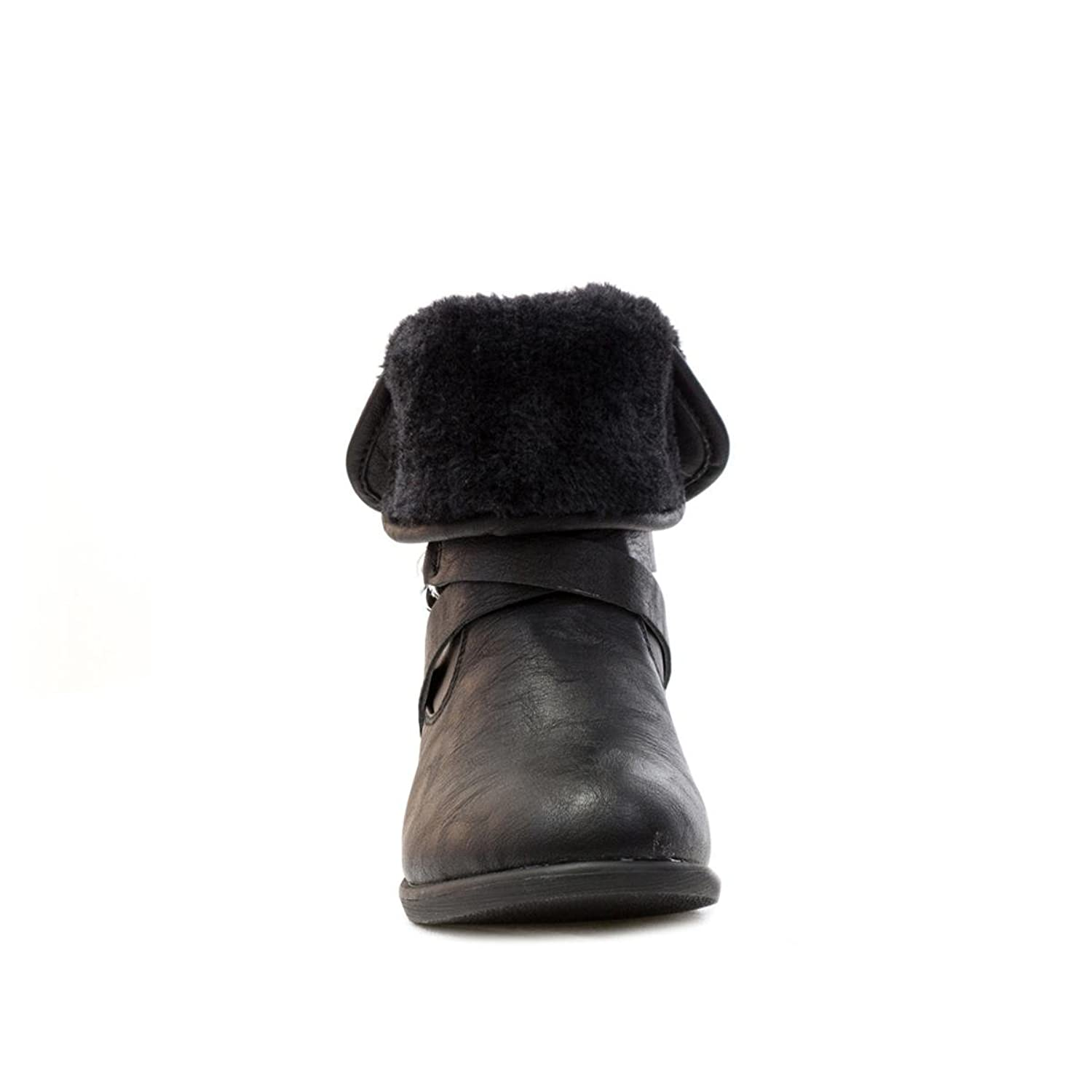 Lilley Girls Black Turndown Fur Top Ankle Boot - Size 6 UK - Black:  Amazon.co.uk: Shoes & Bags