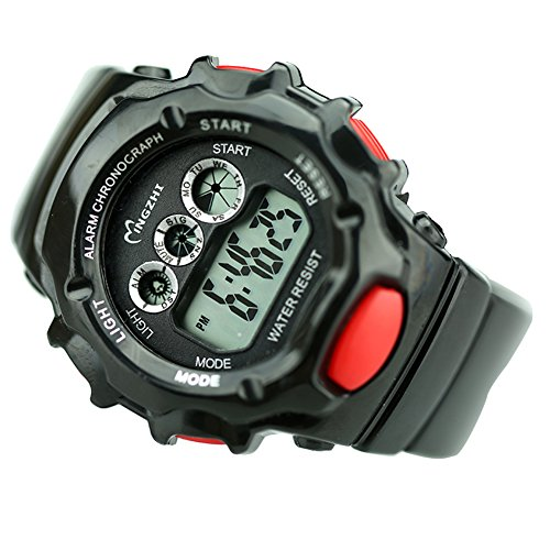 ChezAbbey Kids Boys' Sports Digital Watches Waterproof Date Alarm Week Stopwatch Wristwatch 12/24 Hours with Colorful EL Backlight