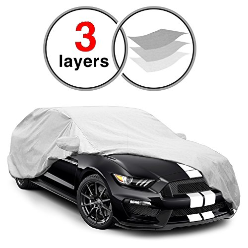 Mirror Mustang Covers - Ford Mustang Car Cover for 2015-2016, 3 Layers KAKIT Waterproof Windproof Dustproof Scratch Proof Custom Fit Car Cover for Ford Mustang, Free Windproof Ribbon