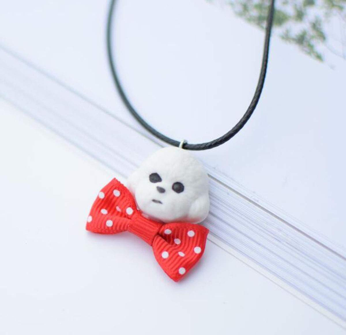 Onlyfo Cute Ceramic Dog Head with Red Bowknot Pendant Necklace with Jewelry Box,Dog Necklace for Women,Child (White) by Onlyfo