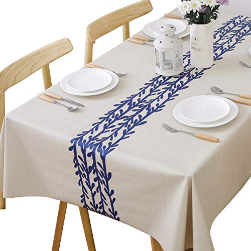 JZY Heavy Duty Vinyl Table Cloth for Kitchen Dining Table Wipeable PVC Tablecloth for Rectangle Table (54″x 84″, Branch)