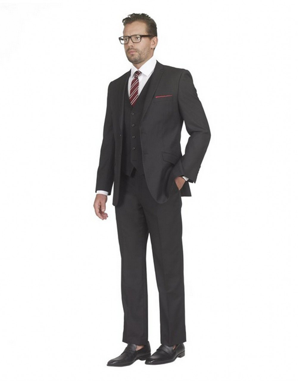 Love Dress Mens 2 Button 3 piece Slim Fit Suit Wedding Dress Black 4XL