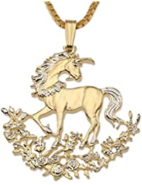 """Unicorn Pendant and Necklace, Hand Cut Chinese Unicorn Coin, 1 1/8"""" in Diameter, ( #462 )"""