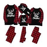 Christmas Merry Christmas Print Blouse Tops and Classic Plaid Pants Xmas Family Clothes Sleepwear Set Black
