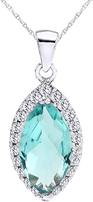 Wishrocks Marquise Cut White Cubic Zirconia Drop Pendant Necklace in Sterling Silver