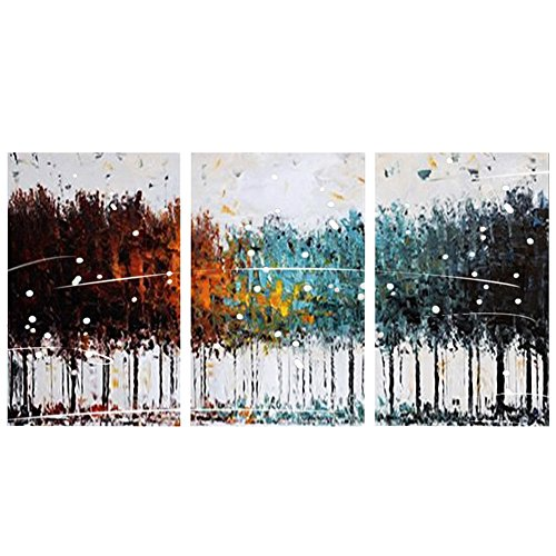 FLY SPRAY 3-Piece Framed 100% Hand Painted Oil Paintings Colorful Forest Abstract Modern Art Canvas Living Room Bedroom Office Wall Art Home Decor