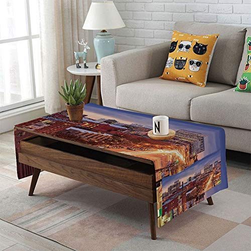 Richmond Table Leg - Linen Blend Tablecloth,Side Pocket Design,Rectangular Coffee Table Pad,United States,Richmond Virginia Highway Office Buildings Downtown at Dusk Urban Lifestyle Decorative,Multicolor,for Home Decor