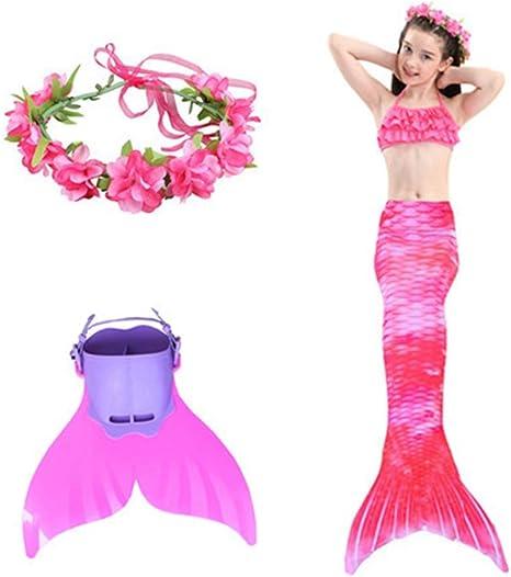 Mermaid Bikini Swimsuit Mermaid Tail Childrens Swimsuit Three-Piece Set