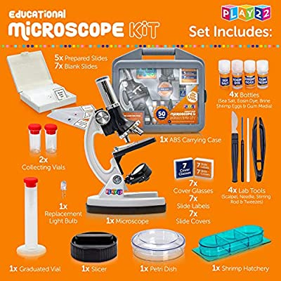 Microscope for Kids 50 PCS - 120X - 1200X Microscope Slides Specimens - Student Beginner Metal Body Toy Microscope Kit in A Carrying Box - Educational Science Lab Toy Best Gift – Original - Play22: Camera & Photo