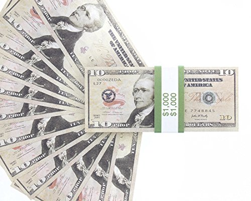 10 Dollar Costumes (Realistic Double Sided Prop Money - Set of 100 $10 Dollar Bill Total $1,000 with Green Currency Strap - Full Print Paper Money for Movie, TV, Videos, Pranks, Advertising & Novelty, 6.25 x 2.5 Inches)