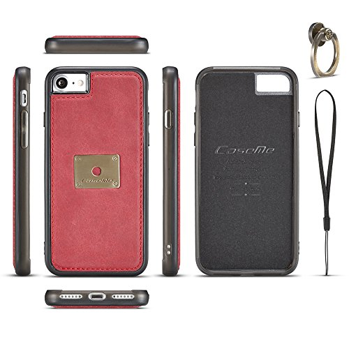 Grandcaser Funda para iPhone 7/8 4.7,Rugged Armor Premium Cuero Protectora Book Style Cover Case Flip Carcasa con Función de Desmontable Anillo Ring Stand - Rojo Rojo