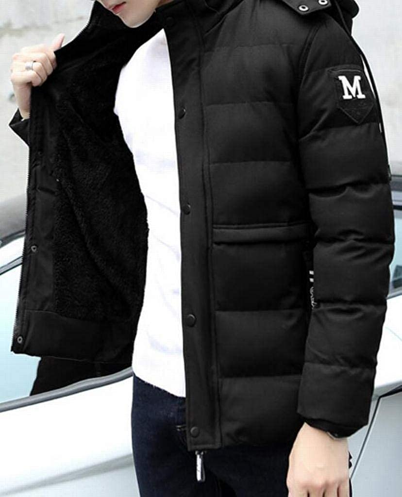 Fubotevic Mens Winter Quilted Warm Full-Zip Hoodie Vogue Casual Mid Length Puffer Jacket