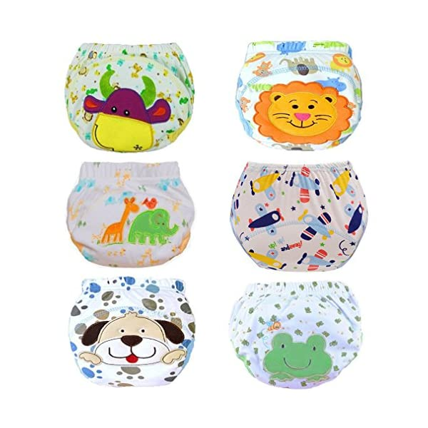 HaimoBurg Confezione da 6 Impermeabili Cotone Mutandine di Apprendimento per Bambino (1-2 Anni, A) 1