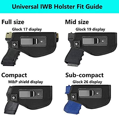Tenako Inside IWB Holster Waistband Fits All Firearms S&W M&P Shield 9/40 1911 Taurus PT111 G2 Sig Sauer Glock 17 19 26 27 42 43 Springfield XD XDS