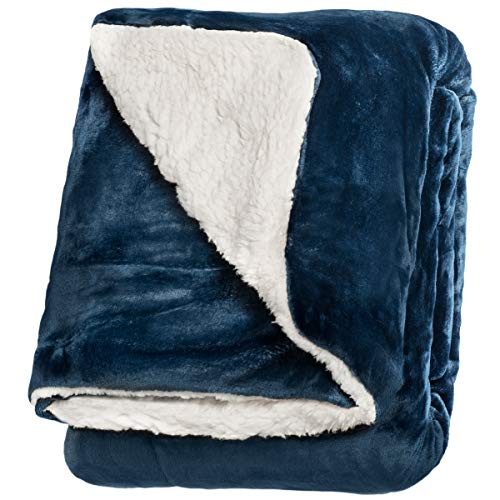 "Throw Pillow Ultimate - Life Comfort Microfiber Plush Polyester 60""x70"" Large All Season Blanket for Bed or Couch Ultimate Sherpa Throw, Blue"