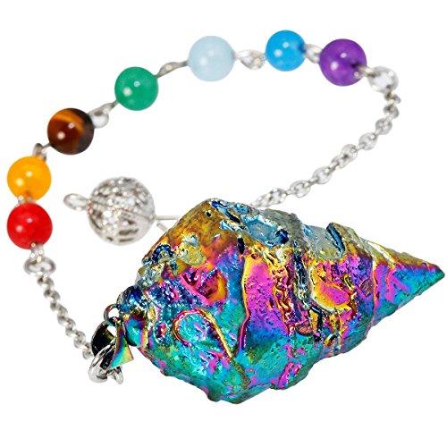 TUMBEELLUWA Healing Crystal Quartz 7 Chakra Pendulum Dowsing Gemstone Divination Reiki Stone,Rainbow