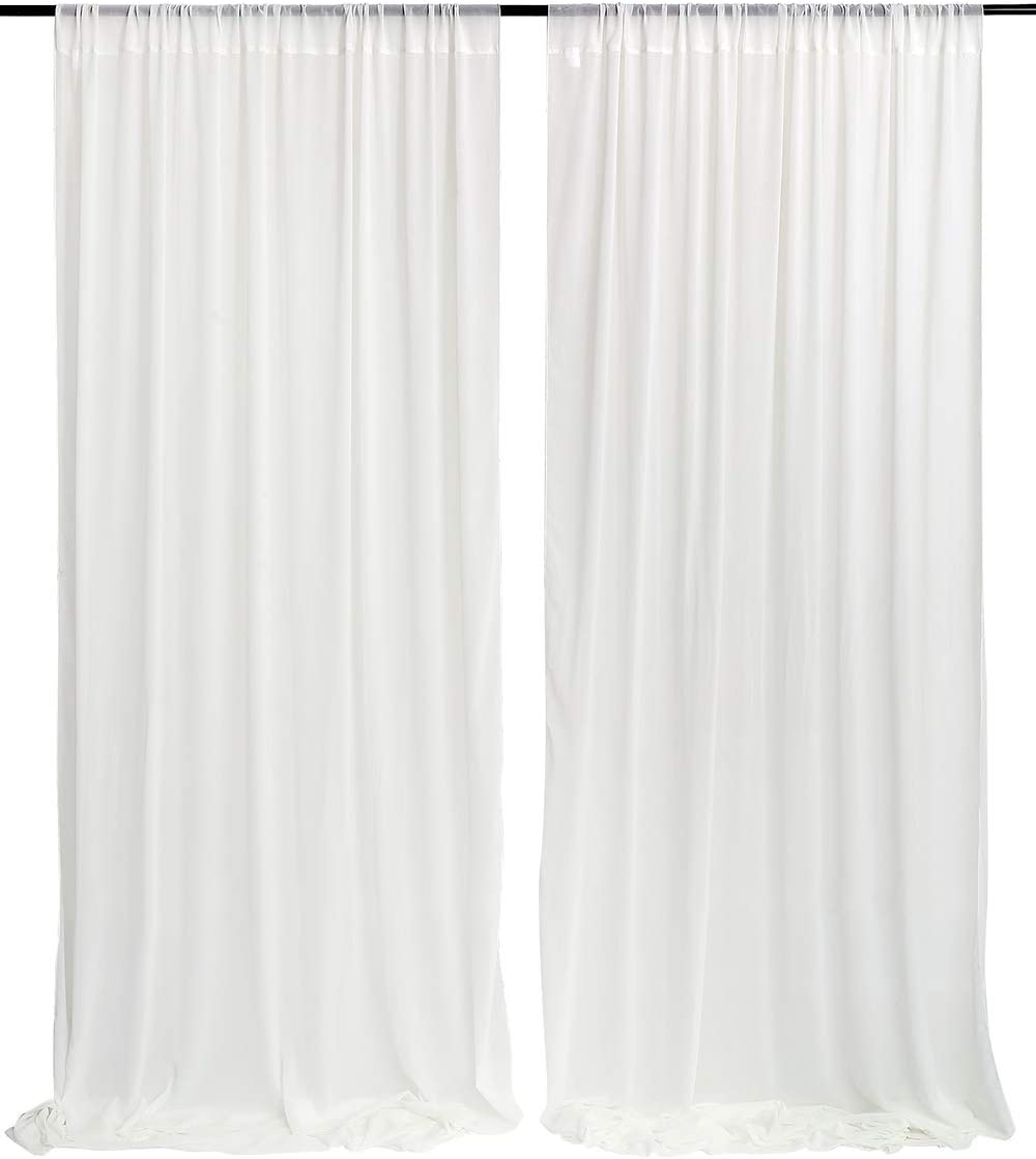 White Wedding Backdrop Curtain 9.8ft by 10ft Chiffon Fabric Drape for Wedding Party Stage Decoration