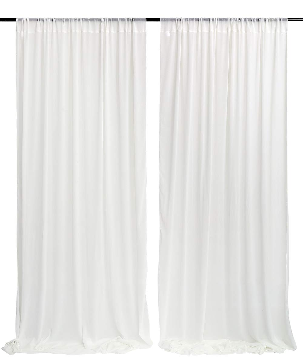 White Wedding Backdrop Curtain 9.8ft by 10ft Chiffon Fabric Drape for Wedding Party Stage Decoration by QueenDream