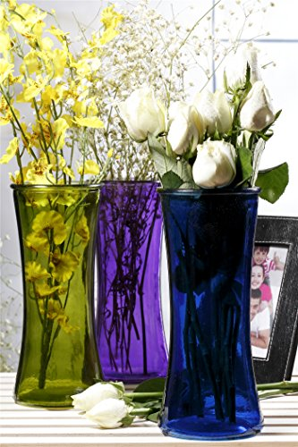 V-More Large Glass Flower Vase in Tall Round Flared Shape, Multicolored, 10-inch Tall, For Home Decor, Wedding, Party, Celebration【Set of 6 (1 for each color)】