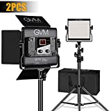 GVM 2 Packs LED Video Light, Dimmable Bi-Color, Lighting for YouTube Studio Photography, Upgrade LED Panel with LCD Screen, Video Shooting with Light Stand Kit, 480 LED Beads, 2300K-6800K, CRI 97+