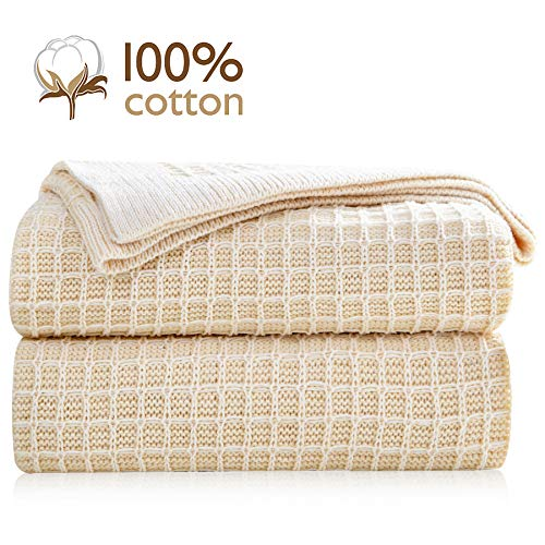 Pumpkin Town Cream 100% Cotton Cable Knit Throw Blanket in Waffle Weave for Soft Sofa, Chair, Couch, Picnic, Camping, Beach, Home Decorative Knitted Blanket, 50