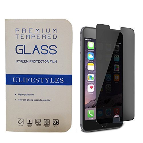 Ulifestyles Anti Spy Privacy Screen Protector for iPhone 7 Plus (5.5 inches), Mirror Tempered Glass Armor Guard Screen Protector, 9H Hardness, Explosion-Proof, Anti Scratch, Anti Shatter, Black