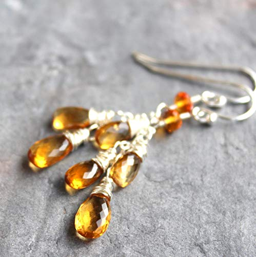 Cascade Citrine Earrings Sterling Silver Dangles Wire Wrapped Gemstones