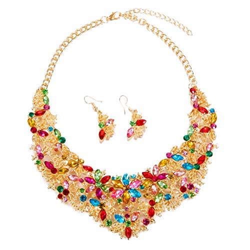 Yuhuan Women Alloy and Crystal Butterfly Necklace and Earring Set Color (Multicolor)