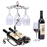 Sangyn-Tabletop-Freestanding-Stackable-Wine-Glass-Metal-Rack-Countertop-2-Wine-Bottles-Holder-Display-Stand