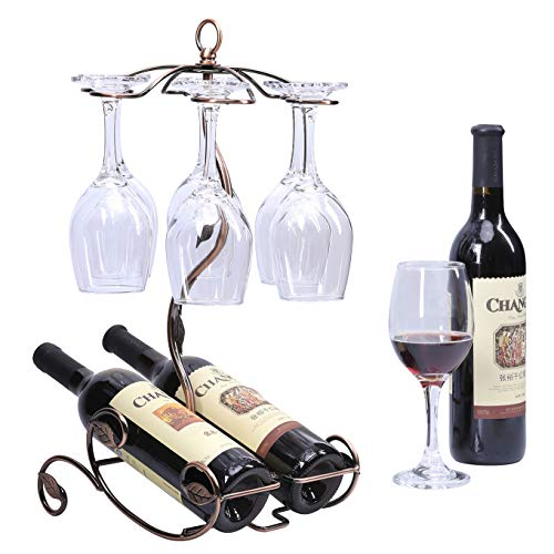 Sangyn Tabletop Freestanding Stackable Wine Glass Metal Rack Countertop 2 Wine Bottles Holder Display Stand (Glass Wine Holder Wine Bottle)