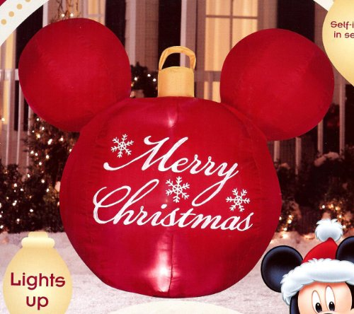 amazoncom disney mickey mouse ears red merry christmas ornament airblown inflatable outdoor decor garden outdoor - Disney Christmas Inflatables
