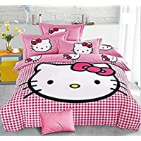 SINGHS MART Attractive Skin Friendly Hello Kitty King Size 100% Cotton Double BEDSHEET with 2 Pillow Covers-Pink