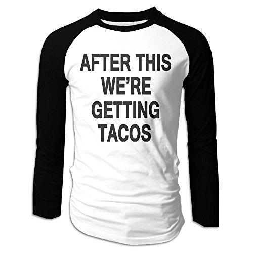 Puppylol Men's After This We're Getting Tacos Long Sleeve Raglan Baseball Shirt L