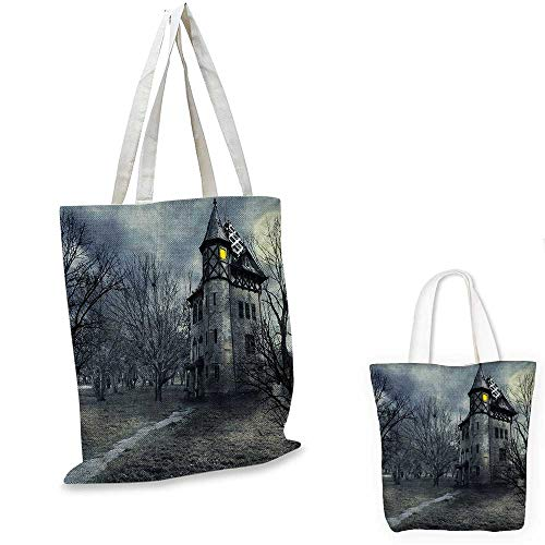 Halloween canvas messenger bag Halloween Design with Gothic Haunted House Dark Sky and Leafless Trees Spooky Theme canvas beach bag Teal. 12