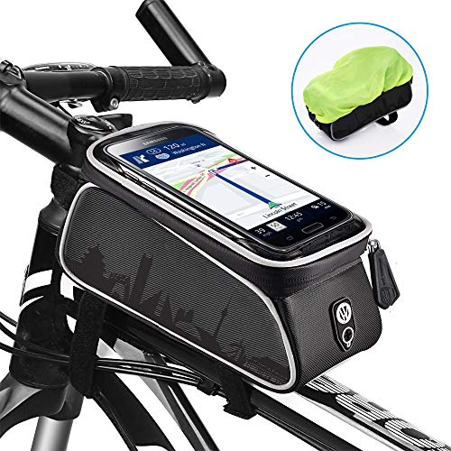 Great Features Of uniwood Bike Front Frame Bags Waterproof, Bicycle Handlebar Bag, Top Tube Mount Handlebar Bags, Bike Screen Phone Holder Case Sports Bicycle Bike Storage Bag Cycling Pack Fits Phones Below 6.0 Inches