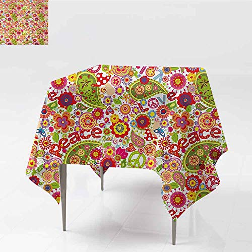 DILITECK Washable Tablecloth 70s Party Festive Hippie Childish Composition of Mushrooms Poppies Peace Fun Work of Art Indoor Outdoor Camping Picnic W50 xL50 Multicolor