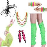 Women Costume 80s Fancy Outfit Accessories Set- Leg Warmers Fishnet Gloves Hairband Bracelet Plastic Neon Beads Earrings for Costume Party 80s Theme Party Halloween(Set6 Green)