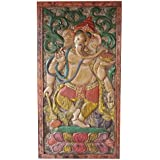 Vintage Hand Carved Barn Door Ganesha God of Prosperity Wall Panel Sculpture Eclectic Decor