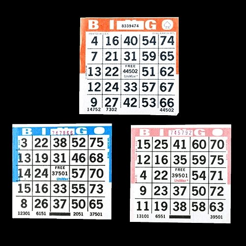 1 on Bingo Paper Game Cards Triple Value Pack - 500 Blue, 500 Orange, 500 Pink - 4 Inch Square Size Disposable Cards - Made in USA SmallToys