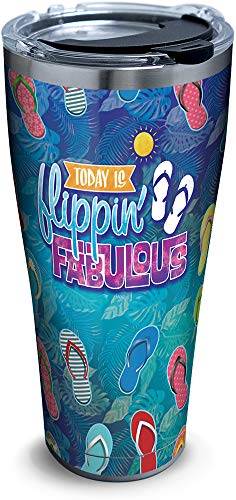 Tervis 1326794 Flippin Fabulous Insulated Travel Tumbler with Lid, 30oz - Stainless Steel, -
