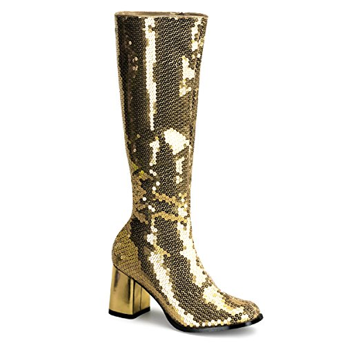- Pleaser Bordello Women's Spectatcular-300 Sequin Gogo Boot,Gold Sequins,8 M US