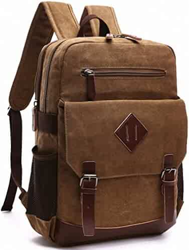 973ed43921fb Kenox Mens Large Vintage Canvas Backpack School Laptop Bag Hiking Travel  Rucksack Brown